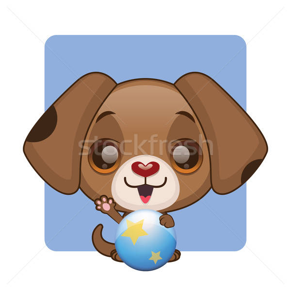 Cute brown puppy holding a ball Stock photo © AgnesSz