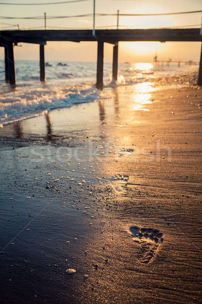 Footprint on the beach Stock photo © AGorohov