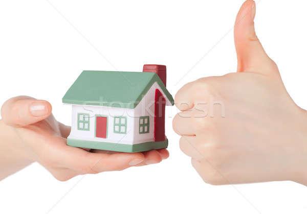 Stockfoto: Huis · weinig · speelgoed · handen · geïsoleerd · witte