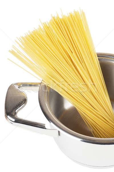 Spagetti köteg edény izolált fehér étel Stock fotó © AGorohov