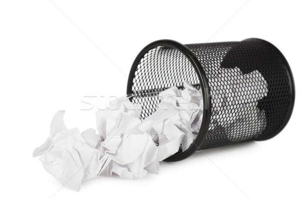 мусорное ведро бумаги сторона изолированный белый бизнеса Сток-фото © AGorohov