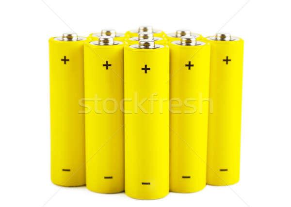 Stockfoto: Batterijen · Geel · geïsoleerd · witte · achtergrond · oranje