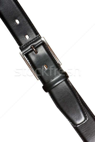 Leder gordel zwarte metalen gesp geïsoleerd Stockfoto © AGorohov