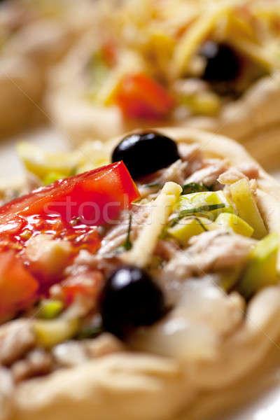 Pizza ruw klaar voedsel groene Stockfoto © AGorohov