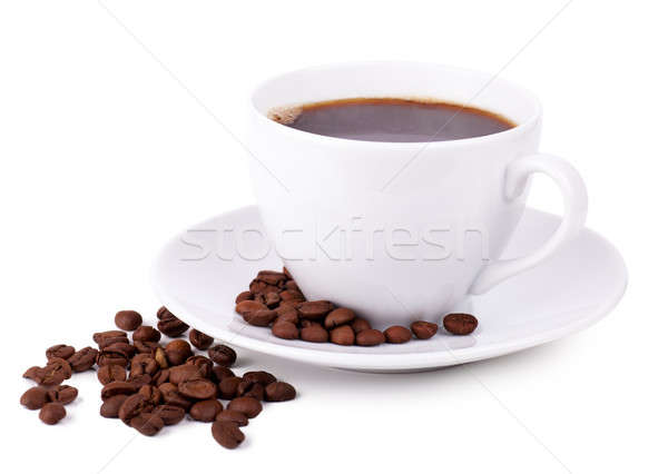 Koffiekopje koffie plaat koffiebonen achtergrond drinken Stockfoto © AGorohov