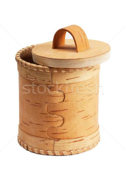 Huş ağacı havlama kutu beyaz arka plan altın Stok fotoğraf © AGorohov