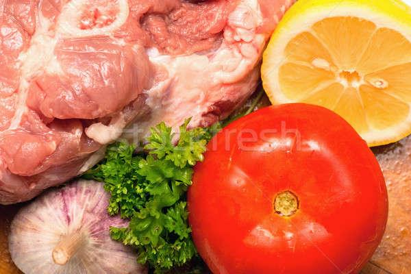 ストックフォト: 生 · 肉 · レモン · ニンニク · パセリ · クローズアップ