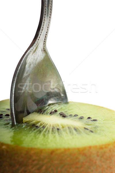 Foto stock: Kiwi · fruto · ver · colher · de · chá · textura