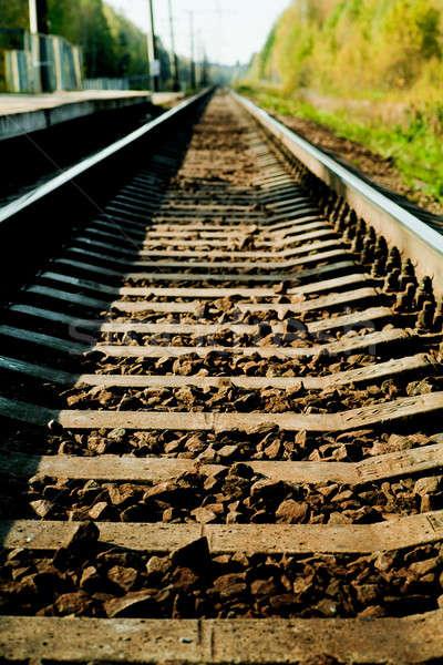 Vasút távolság napos idő felirat ipar acél Stock fotó © AGorohov