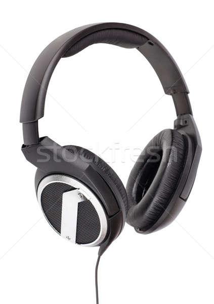 Kulaklık profesyonel yalıtılmış beyaz müzik kablo Stok fotoğraf © AGorohov