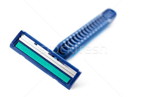 Stock fotó: Kék · borotva · közelkép · kilátás · izolált · fehér