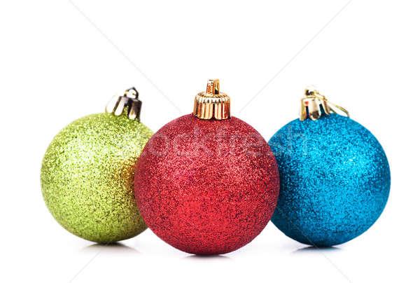 Stockfoto: Christmas · decoraties · drie · bollen · witte