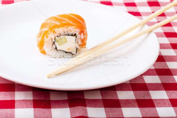 Sushi plaat sojasaus gember eetstokjes witte Stockfoto © AGorohov