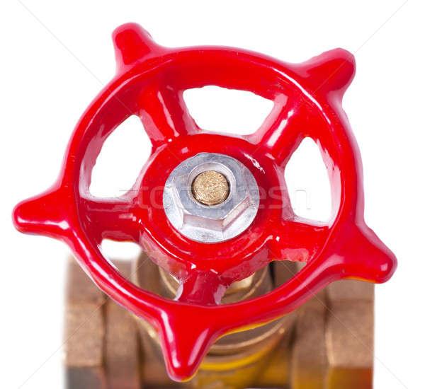 Válvula primer plano vista rojo aislado blanco Foto stock © AGorohov