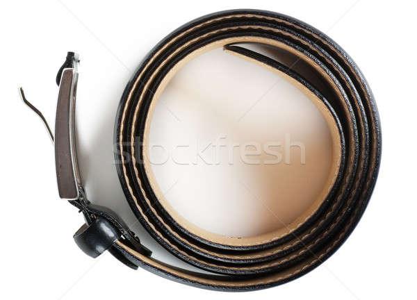 Leder gordel zwarte metalen gesp witte Stockfoto © AGorohov