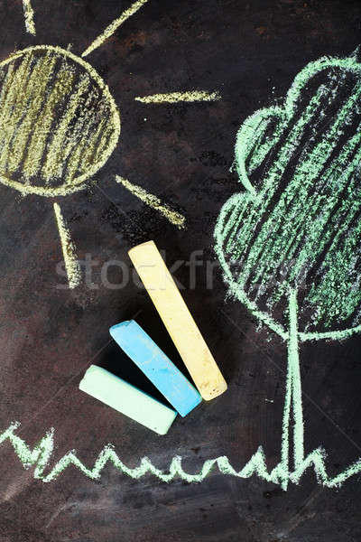 çizim güneş ağaç çocuklar dizayn sanat Stok fotoğraf © AGorohov