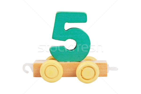 Houten speelgoed aantal wielen geïsoleerd witte school Stockfoto © AGorohov