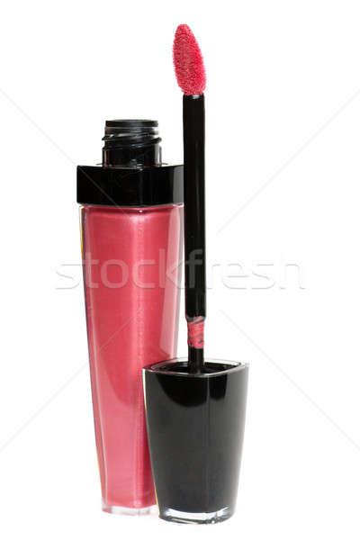 Rosso lip gloss isolato bianco faccia vernice Foto d'archivio © AGorohov
