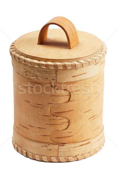 Nyírfa ugatás doboz fehér háttér arany Stock fotó © AGorohov