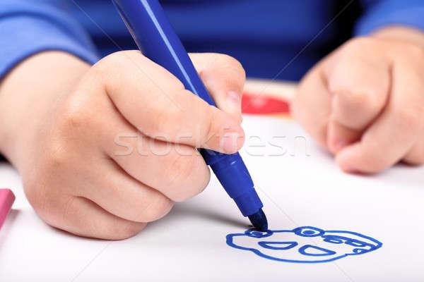 Dessin main voiture bleu école enfant Photo stock © AGorohov