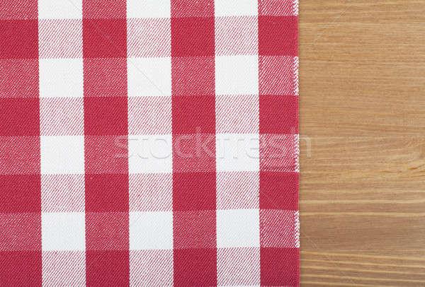 赤 白 テーブルクロス 木製のテーブル フレーム キッチン ストックフォト © AGorohov