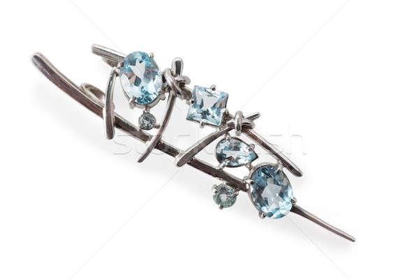 Broş mavi mücevher yalıtılmış beyaz moda Stok fotoğraf © AGorohov