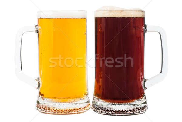 Bira gözlük ışık kahverengi iki yalıtılmış Stok fotoğraf © AGorohov