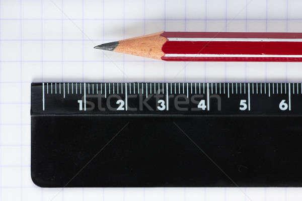 Oktatás szerszámok makró kilátás ceruza vonalzó Stock fotó © AGorohov