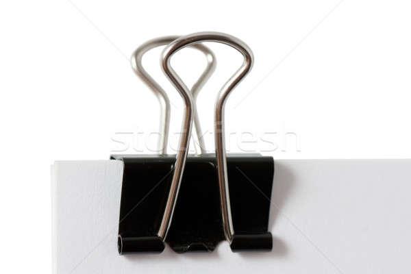 скрепку макроса мнение черный изолированный белый Сток-фото © AGorohov