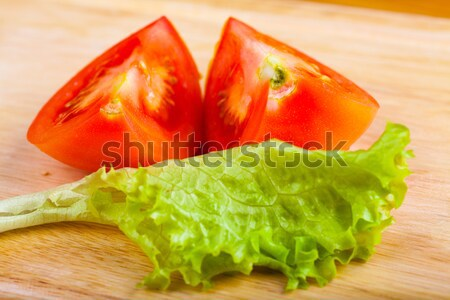 精進料理 野菜 トマト サラダ 木製のテーブル 葉 ストックフォト © AGorohov