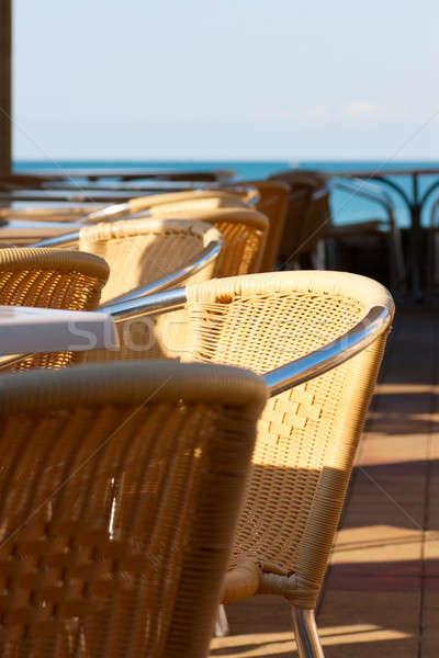 Stockfoto: Cafe · stoelen · resort · strand · hemel