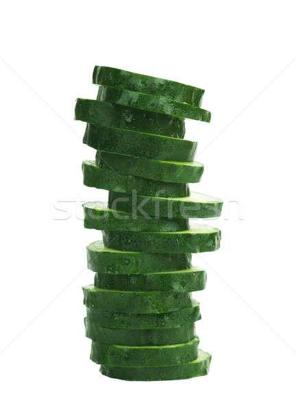 Uborka szeletek makró kilátás étel saláta Stock fotó © AGorohov