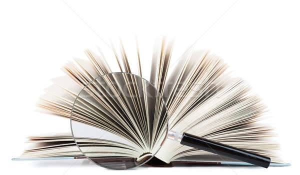 Suche Ansicht offenes Buch Lupe isoliert Stock foto © AGorohov