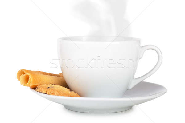 Café cookies tasse rouler table en bois Photo stock © AGorohov