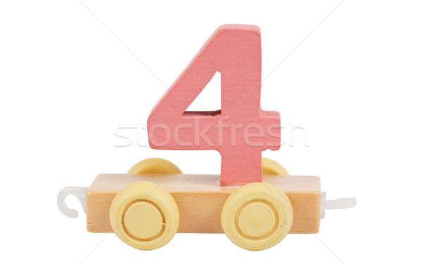 Wooden toy number 4 Stock photo © AGorohov