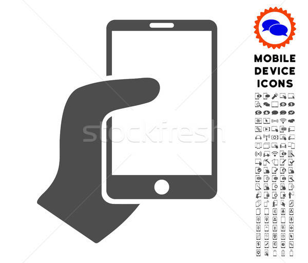 Stock photo: Hand Hold Smartphone Icon with Set