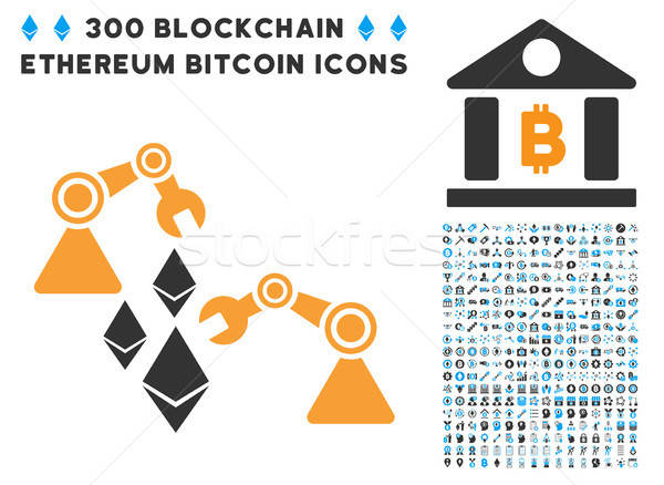 Ethereum Mine Robotics Flat Icon with Collection Stock photo © ahasoft