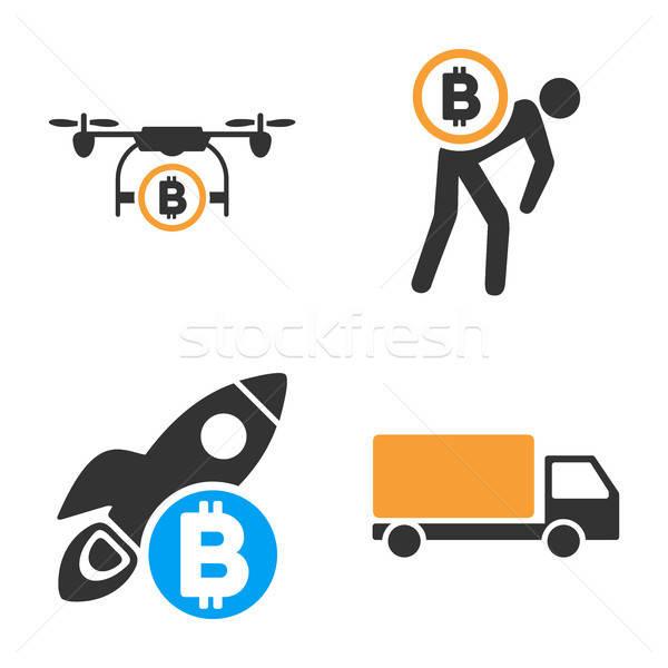 Bitcoin Transport Vector Icon Set Stock photo © ahasoft