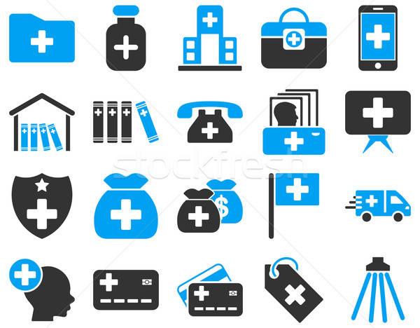 Orvosi ikon gyűjtemény ikonok rajzolt kék szürke Stock fotó © ahasoft