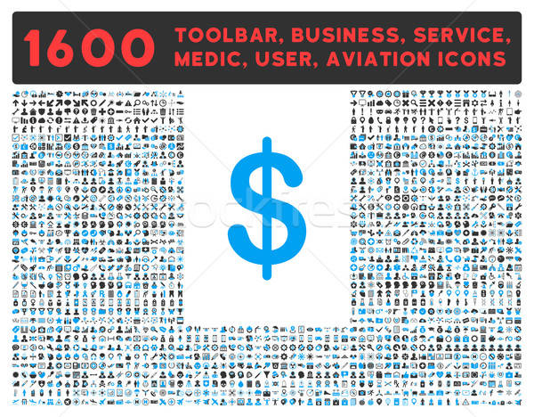 Dollar Icon with Large Pictogram Collection Stock photo © ahasoft
