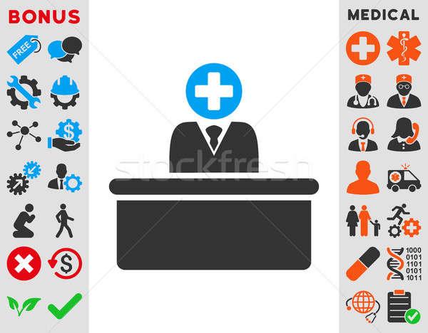 Medische icon stijl symbool Blauw grijs Stockfoto © ahasoft