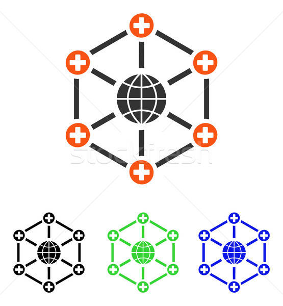 Global Medical Network Flat Vector Icon Stock photo © ahasoft