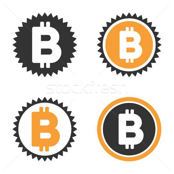 Bitcoin érme vektor ikon gyűjtemény stílus üzlet Stock fotó © ahasoft