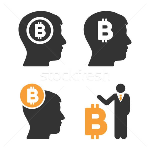 Bitcoin akla vektör stil iş Stok fotoğraf © ahasoft
