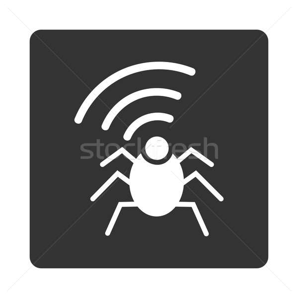 Radio spion bug icon stijl witte Stockfoto © ahasoft