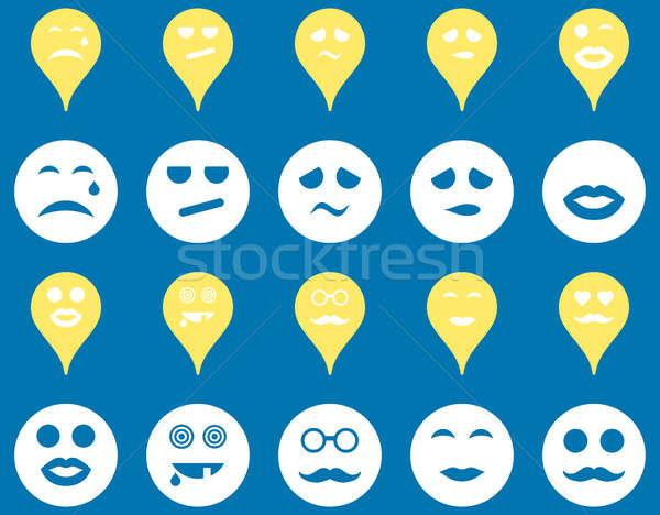 улыбается карта иконки набор стиль Сток-фото © ahasoft