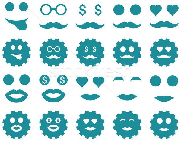 Engins émotion icônes vecteur style Photo stock © ahasoft