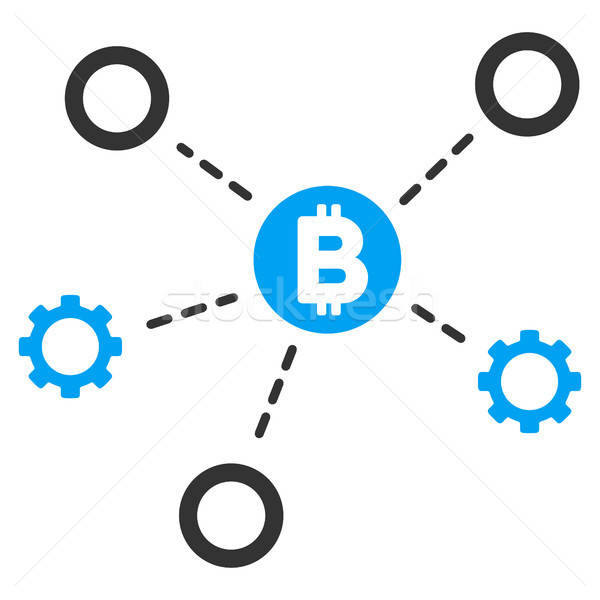 Bitcoin netwerk icon vector pictogram toepassing Stockfoto © ahasoft