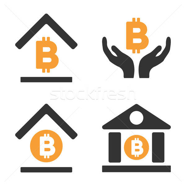 Bitcoin Banking Vector Icon Set Stock photo © ahasoft