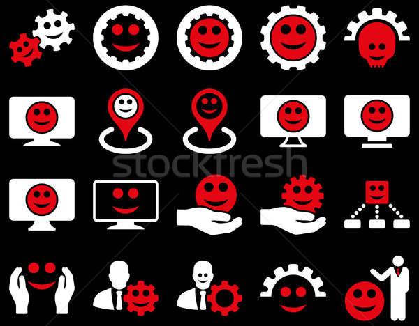 Stockfoto: Tools · versnellingen · glimlacht · kaart · iconen · ingesteld